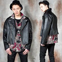 Crop rider leather jacket