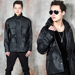 High-neck leather field jacket