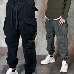 Washed cotton baggy cargo pants