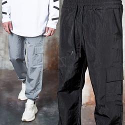 Metallic cargo jogger pants