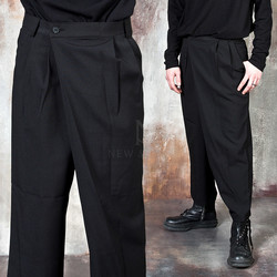 Asymmetric wrap wide pants