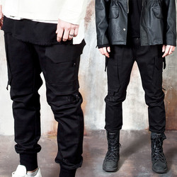 Multiple pocket accent black banded pants