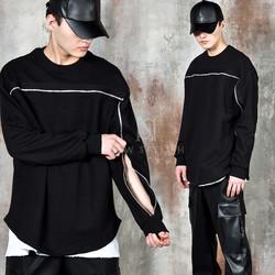 Double zipper line round hem shirts