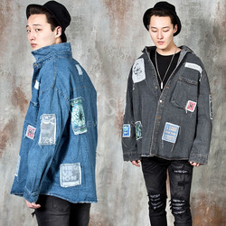 Patchwork accent washed denim shirts