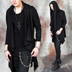 Avant-garde asymmetric draping hooded vest