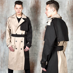 Side contrast double breasted trench coat