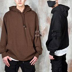Double strap belted hoodie