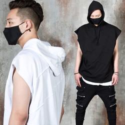 Diagonal embossed stitch line sleeveless hoodie