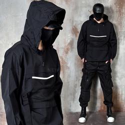Techwear webbing strap anorak hoodie