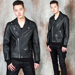 Simple leather rider jacket
