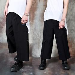 Contrast pocket line wide crop pants