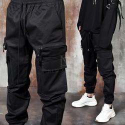 Multiple unique zipper pocket banded pants
