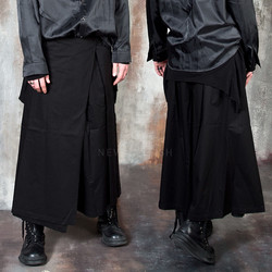 Avant-garde wrap skirt wide pants