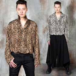 Snake pattern loose fit silky shirts
