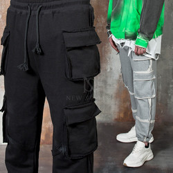 Distressed inside-out stitch line sweatpants