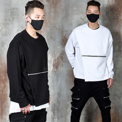 Zippered diagonal cover layered t-shirts