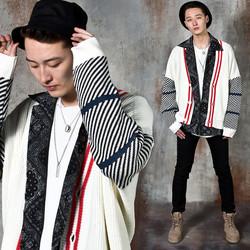 Contrast pattern knit cardigan