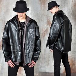 Over stitch line leather shirt jacket