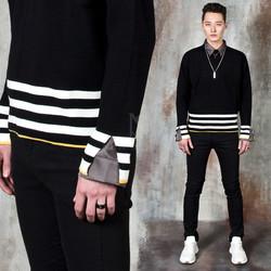 Wrist opening striped knit sweater