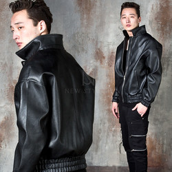 Wide fit zip-up leather jacket