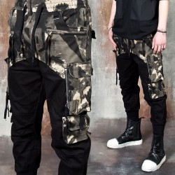 Camouflage contrast banded cargo pants
