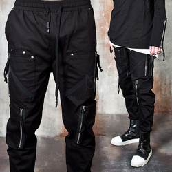 Double zippered long banded hem pants