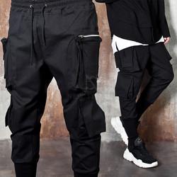 Zippered double 3D pocket black banded pants