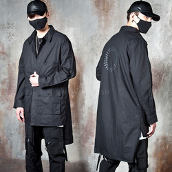 Unbalanced long black button-up shirts