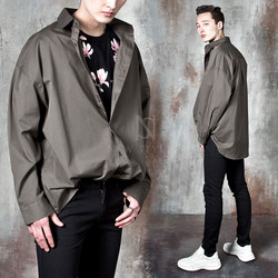 Plain loose fit button-up shirts