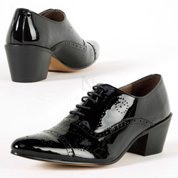 Black glossy leather high heel brogue shoes