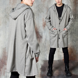Hound patterned loose fit hooded coat