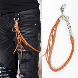 Braided brown leather pants chain