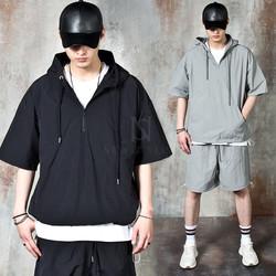 Banded anorak hoodie