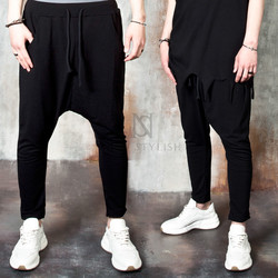 Drop crotch banded black baggy pants