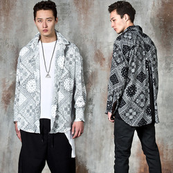 Back center opening unbalanced paisley shirts