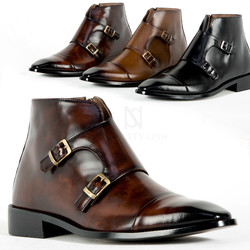 Double monk strap ankle leather boots