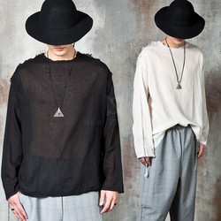 Avant-garde distressed long sleeve linen t-shirts