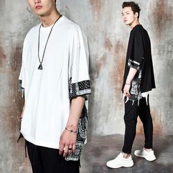 Paisley pattern contrast unbalanced t-shirts