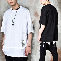 Barcode patchwork layered bottom hem t-shirts