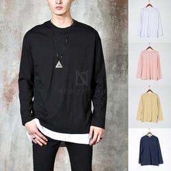 Side opening plain long sleeve basic t-shirts