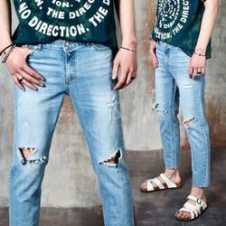 Distressed ripped rough hem slim jeans