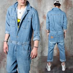 Washed blue denim baggy jumpsuit