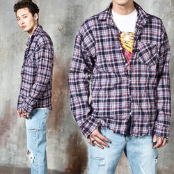 Checkered distressed wrinkle shirts
