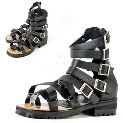 Multiple buckle straps modern gladiator sandal