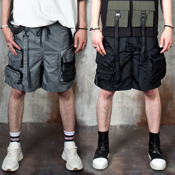 3D zippered pocket techwear strap shorts