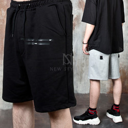 Line and strap accent banded shorts