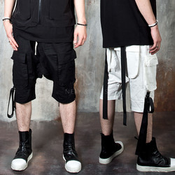 Multiple strap baggy cargo shorts
