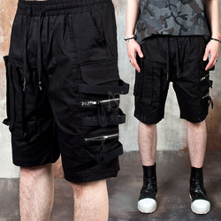 Double zippered strap cargo shorts