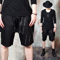 Wrap layered double zipper banded shorts