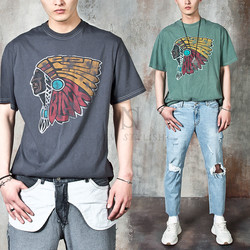 Washed pigment grunge Indian printed t-shirts